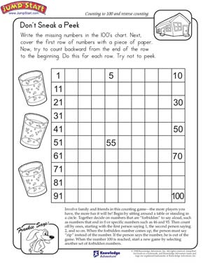 math worksheet : don t sneak a peek view  math worksheet on counting and reverse  : Kindergarten Counting To 100 Worksheets