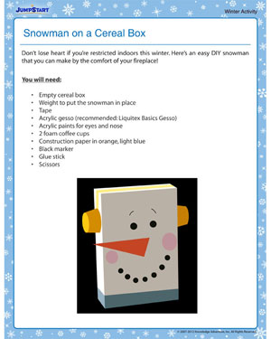Snowman on a Cereal Box - Free Winter Activity PDF for Kids