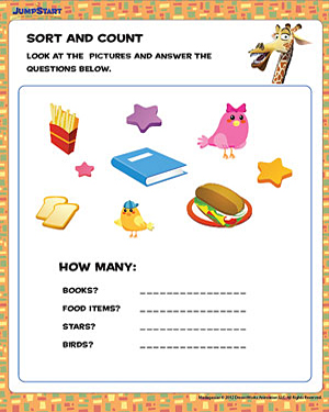 Sort and Count - Fun Printable Math Worksheets for Preschool ...