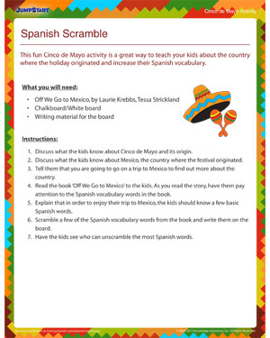 Spanish Scramble - Cinco de Mayo Vocabulary Activity - JumpStart