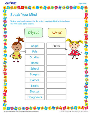 Speak Your Mind – free worksheet on vocabulary