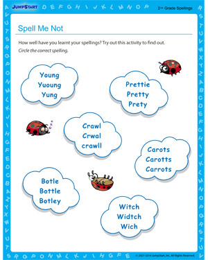 Spell Me Not - Free educational printable for 2nd grade kids