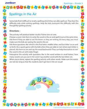 Spellings in the Air - Spelling activity for kids