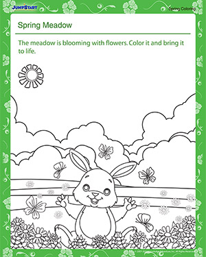 Spring Meadow – Spring Coloring Worksheet for Preschool
