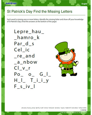 St Patrick's Day Find the Missing Letters - Free English Worksheet for Kids