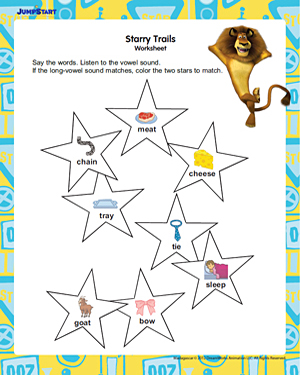 Starry Trails - Free 1st Grade English Worksheet for Kids
