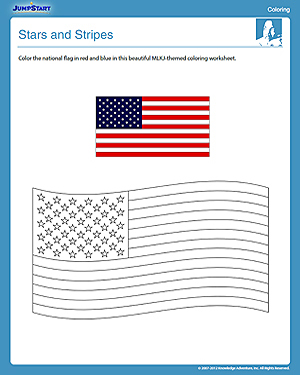 Stars and stripes free mlkj day coloring worksheet for Stars and stripes coloring pages