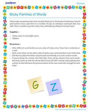 Sticky Families of Words - Phonics activity for kids
