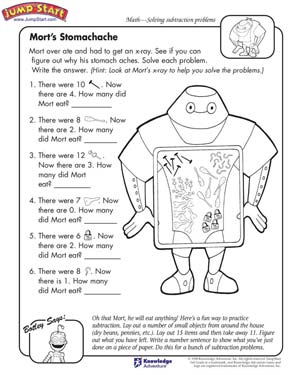 math worksheet : mort s stomachache  subtraction problems and worksheets for kids  : Story Worksheets For Kindergarten