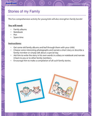 Stories of my Family - Online Comprehension Activity and Printable for Kids