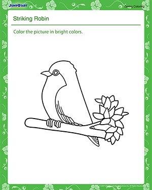 Striking Robin – Printable Spring Coloring Worksheet