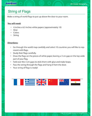 String of Flags - Classroom activity on geography for kids