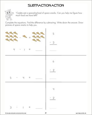 Subtraction Action – Subtraction Problems and Worksheets for Kids ...