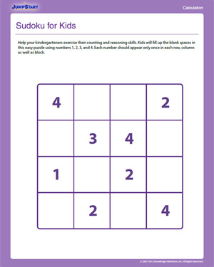 math worksheet : sudoku for kids  free counting worksheets for kindergarten : Sudoku Worksheets