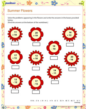 math worksheet : summer flowers math  free 1st grade math worksheet  jumpstart : Math Addition And Subtraction Worksheets