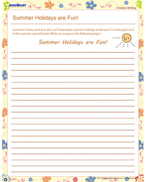 summer holidays are fun creative writing worksheet for kids summer holidays are fun