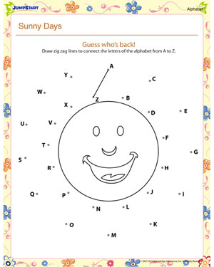 Worksheets Printable Alphabet Worksheets For Kindergarten sunny days printable alphabet worksheet for kids jumpstart preschool english worksheet