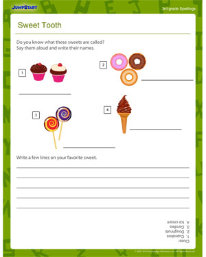 Sweet Tooth - Printable Spelling Worksheet
