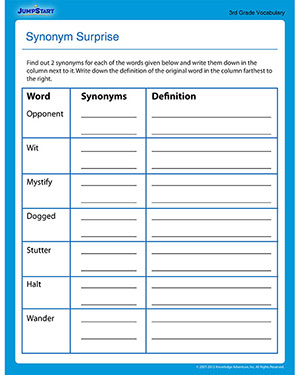 Printables 4th Grade Vocabulary Worksheets Free synonym surprise free 3rd grade vocabulary worksheet jumpstart elementary worksheet