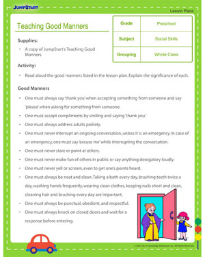 Worksheet Good Manners Worksheet teaching good manners free preschool lesson plan jumpstart manners