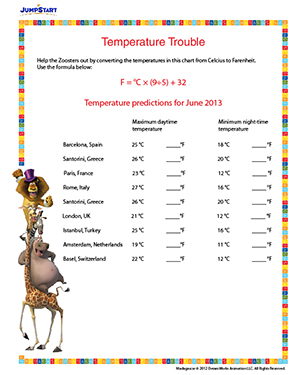 math worksheet : temperature trouble  printable conversion worksheet for 6th grade  : Fun Math Worksheets For 6th Grade