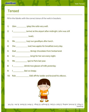 Tensed – Printable 3rd Grade Verb Tenses Worksheet– JumpStart