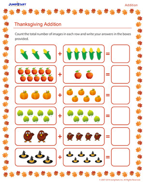 math worksheet : thanksgiving addition  free addition worksheet for kids  jumpstart : Thanksgiving Math Worksheets Kindergarten