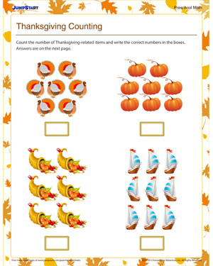 math worksheet : thanksgiving counting  free printable counting worksheet for kids  : Kindergarten Thanksgiving Worksheets Free