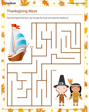 Thanksgiving Maze – Free Printable Mazes for Kids – JumpStart