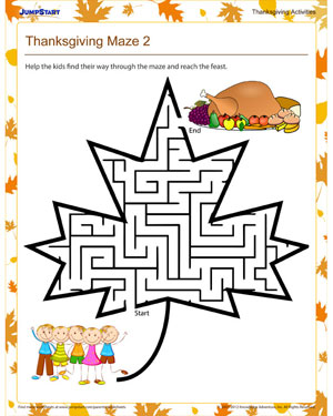 Thanksgiving Maze 2 - Free Holiday Maze for Kindergarteners