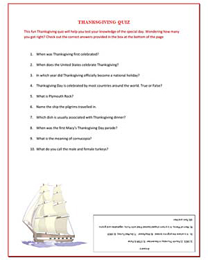 Thanksgiving Quiz - Fun Thanksgiving Worksheet