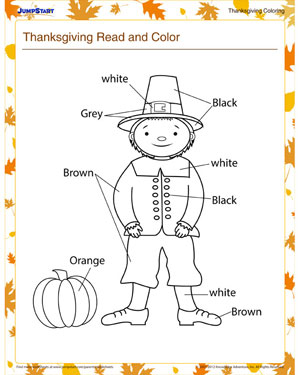 Worksheets Read And Color Worksheets thanksgiving read and color free coloring printables jumpstart worksheet for kindergarten