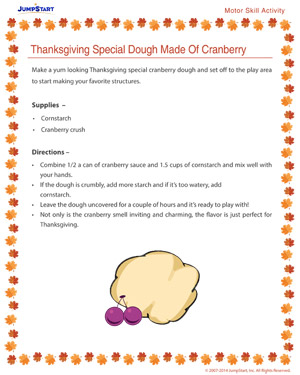 Thanksgiving Special Dough Made of Cranberry - Free Thanksgiving Activity