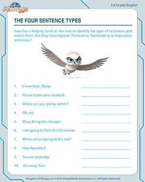 Worksheets Four Kinds Of Sentences Worksheet the four sentence types free 1st grade english printables types