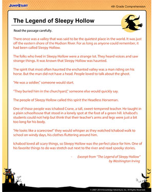 The Legend of Sleepy Hollow – Free Reading and Comprehension ...