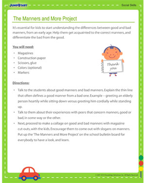 the manners and more project social skill activity on good and  the manners and more project social skills activity