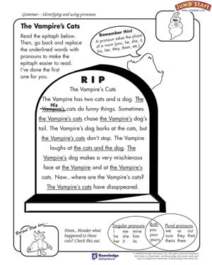 Printables Fun Grammar Worksheets the vampires cats english grammar worksheet with pronouns vampire s fun for kids
