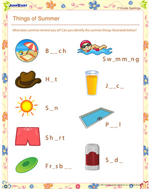 Things of Summer – Free Vowel and Spellings Worksheet for Kids ...