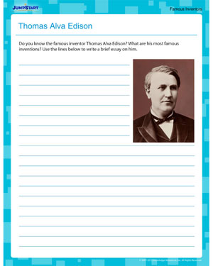 Thomas Alva Edison - Online Writing Worksheet for 5th Graders