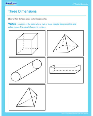 Three Dimensions on math for 2nd graders printable