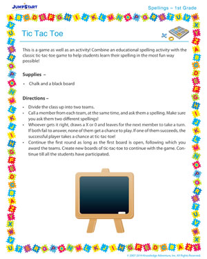 Tic Tac  Toe - Spelling activity for kids