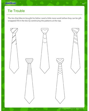 Tie Trouble – Father's Day Art Worksheet for 1stGrade - JumpStart