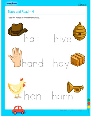Trace and Read - H – Free Alphabet Worksheet for your Child