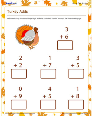 math worksheet : turkey adds  download free 1st grade math worksheet for  : Thanksgiving Addition Worksheet