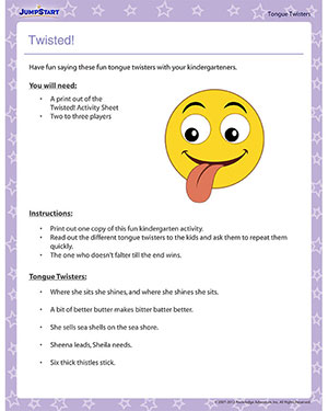 Twisted View Fun Tongues Twisters For Kindergarten