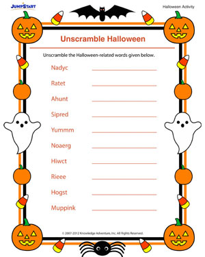 unscramble halloween free fun scrambled word printables for kids - Free Printable Halloween Activity Pages