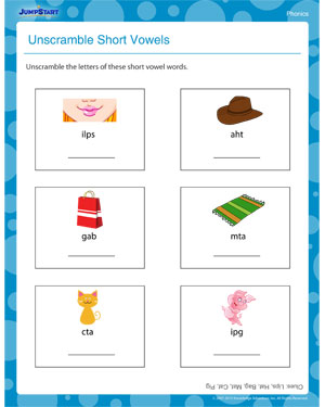 math worksheet : unscramble short vowels  free phonics worksheets and activities  : Short Vowels Worksheets For Kindergarten