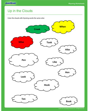 Up in the Clouds – Rhyming Worksheet for First Grade - JumpStart