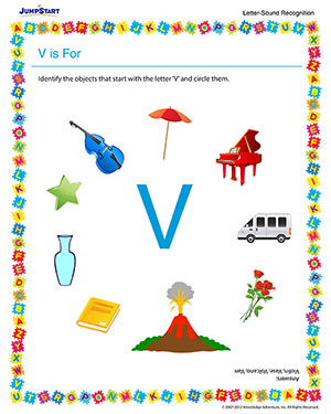 V is For - Free Phonics Worksheet for Preschool