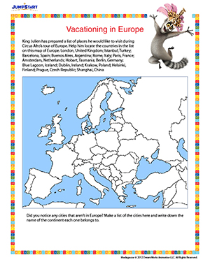 vacationing in europe printable geography worksheet for 4th grade jumpstart. Black Bedroom Furniture Sets. Home Design Ideas